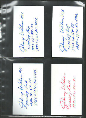 11 Hockey-nhl Johnny Wilson Autograph/auto/hand-signed Index Card 3x5 Bb Beneficial To The Sperm Index Cards