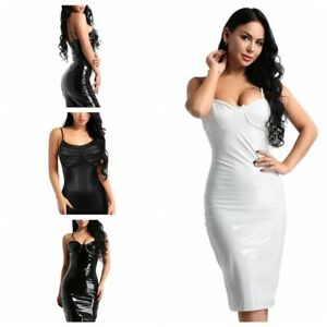 Fashion-Womens-Sleeveless-Faux-Leather-Club-Bodycon-Evening-Cocktail-Party-Dress