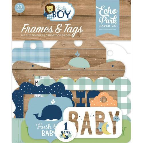 Echo Park /'BABY BOY/' Frames /& Tags Die-Cut Ephemera Pieces 33pcs Scrapbooking