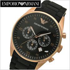 NEW EMPORIO ARMANI AR5905 ROSE GOLD BLACK CHRONOGRAPH MEN'S WATCH - BNIB