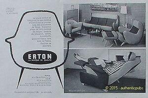 Canape 1958 Détails Pub Vintage Publicite Erton Ad Salon De Advert Relax Sur French Fauteuil exBCWQrdo