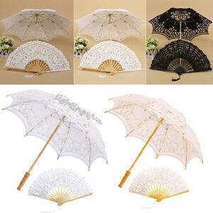 Handmade-Battenburg-Lace-Wedding-Umbrella-Sun-Vintage-Bridal-Bridesmaid-Parasol