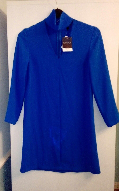New Ladies bluee Topshop Tunic Long Sleeve Dress Size 8