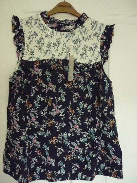 MONSOON TAMIKO NAVY MULTI FLORAL HOTCHPOTCH RUFFLE TOP US 16 NWT