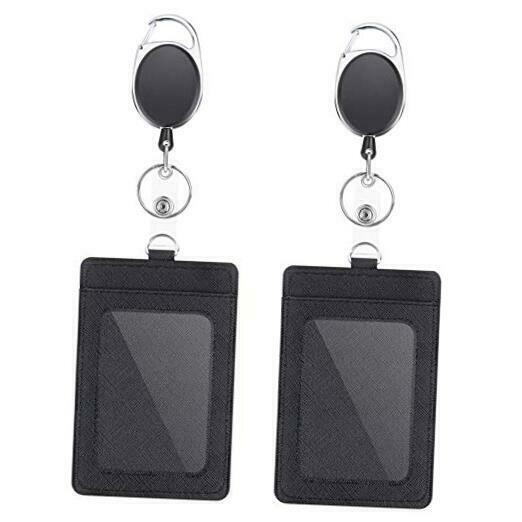 2 Pack Badge Holders and Heavy Duty Retractable Reel Clips Set, Vertical