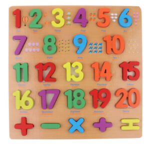 Wooden Number 1-20 Puzzle Block Board Toy Baby Early Developmental Toy