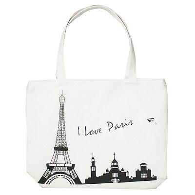 New White Paris Eiffel Tower City Women Tote Bag Shoulder Bag Handbag Canvas