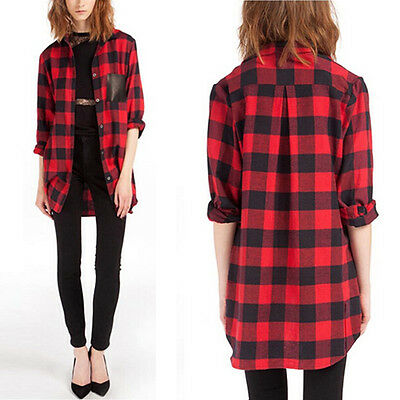 NEW Oversized Women Scottish Plaid Check Tartan Tee Shirt Tops Baggy Cardigan