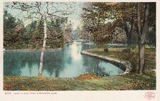 Antique POSTCARD c196 Lake in Elm Park WORCESTER, MA MASS. Unused 13226