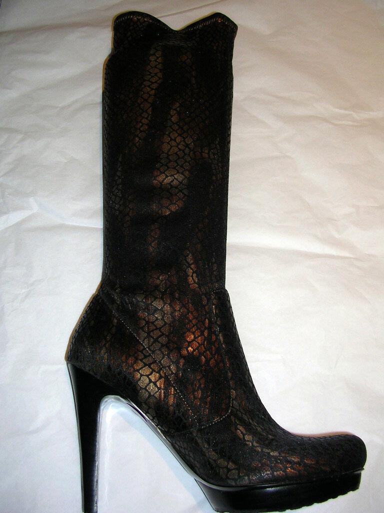 Carlos Santana Black Bronze Knee High Lizard Stretch Boots 6.5 M NWOB