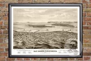 Vintage-San-Diego-CA-Map-1876-Historic-California-Art-Victorian-Industrial