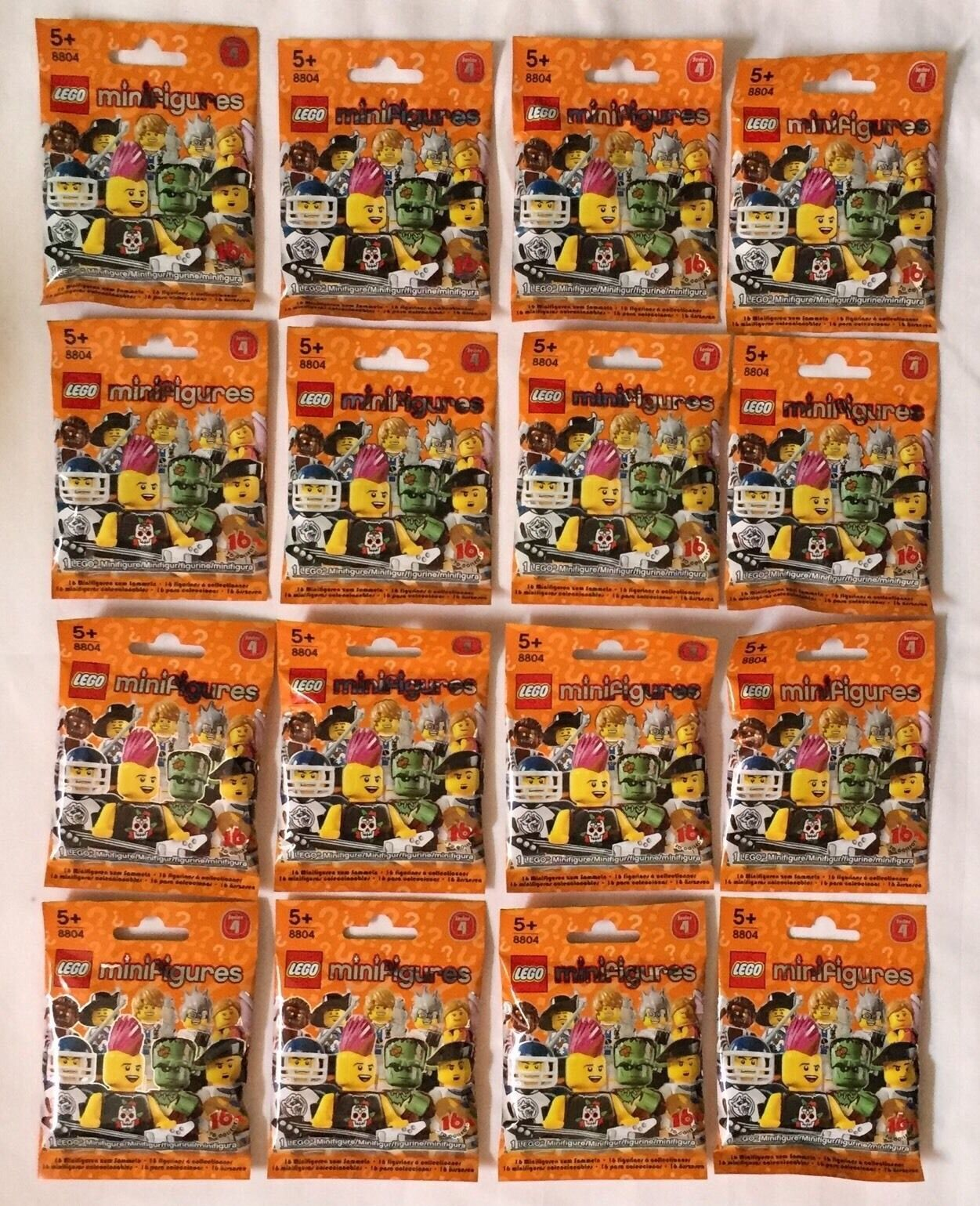 LEGO MINIFIGURES (8804) - Series 4 -COMPLETE SET of 16 Figures - New & Sealed