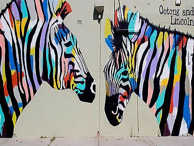 ART PRINT POSTER PHOTO GRAFFITI MURAL STREET TRIPPY ZEBRA NOFL0362