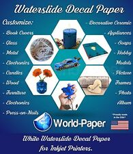 10 sheets WHITE INKJET Waterslide decal paper 8.5x11