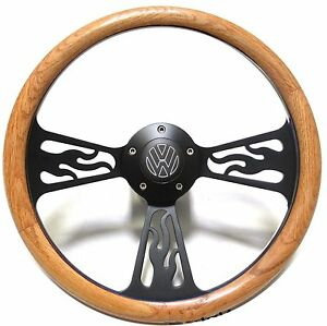 volkswagen vw bug beetle steering wheel oak wood flames. Black Bedroom Furniture Sets. Home Design Ideas