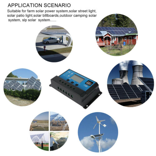 60//30A PWM Solar Panel Battery Regulator Charge Controller Dual USB 12V 24V US