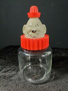 VTG Bosco Clown Chocolate Syrup Bank with Original Glass Jar Hazel Atlas 1950's