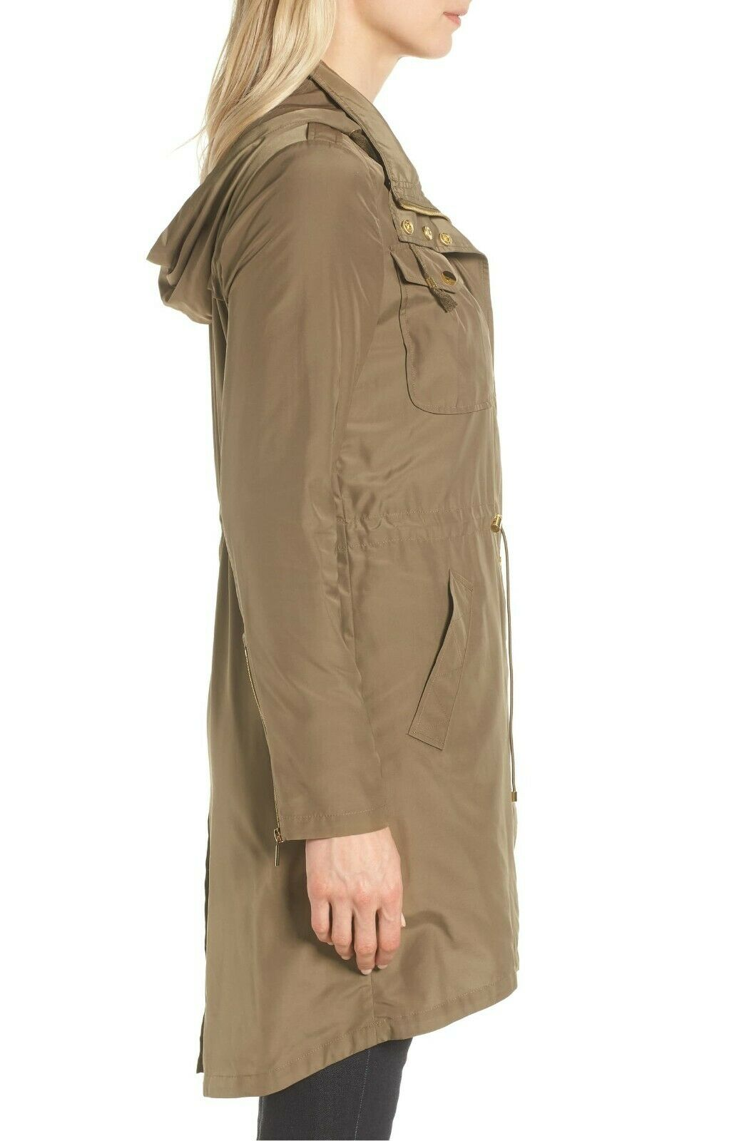 Badgley Mischka Green Water Proof Anorak W/ Stowaway hood Women's Size XS 84347