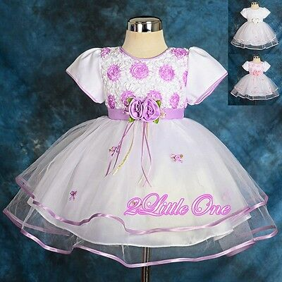 Wedding Flower Girl Pageant Party Occasion Dress Infant Baby Size 6M-24M #182