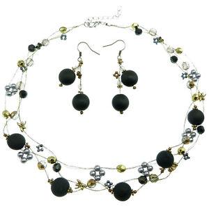 Parure-Collier-Ras-De-Cou-Boucles-D-039-oreille-Perles-Noir-Gris-Argente-Dore