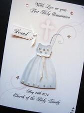 """HAND-MADE personalizzata """"comunione dress"""" CARD."""
