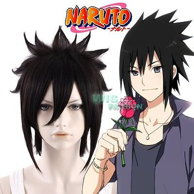 Naruto Uchiha Sasuke Short Straight Black Anime Cosplay Hair Wig