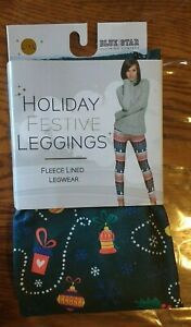 Blue-Star-Holiday-Festive-Leggings-Women-039-s-Sz-L-XL-NEW-Fleeced-Lined-Legwear