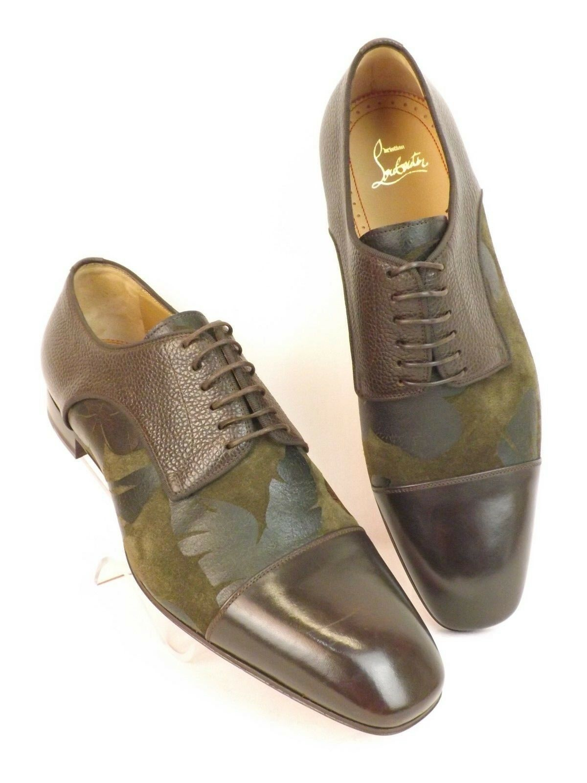 c48dab36d61 Louboutin Top Daviol Brown Flower Suede Leather Lace up Derby Shoes 42 9