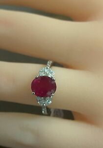Image Is Loading Platinum Ruby Diamond Ring Over 2 Carat Fine