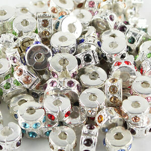 10PCS-Czech-Crystal-Rhinestone-Silver-European-Charm-Beads-Locks-Clip-Stoppers