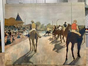 Jockeys-in-front-of-the-grandstand-by-Edgar-Degas-1940-Print-on-Cardboard-18X24