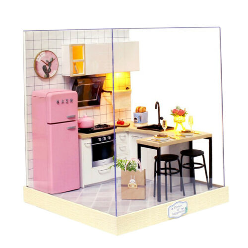 1//12 DIY Cabin Dollhouse Handcraft Miniature Kitchen Kit Toy Taste of Life