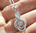 Sterling Silver Floating DANCING Rhythm Diamond cut INFINITY Pendant Necklace