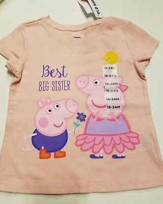 Toddler Girls Old Navy Brand Best Big Sister Peppa Pig T-Shirt 12-18M 18-24M