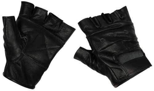 Leather Gloves Men/'s without Fingers Fingerless Biker Motorcycle New
