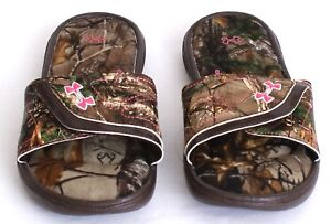 c794d67ff57f51 Under Armour Ignite VII Realtree Camo Slide Sandals Youth Girl s 4 ...