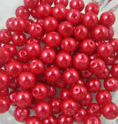 50pcs Red round glass pearl spacer beads loose beads 6mm
