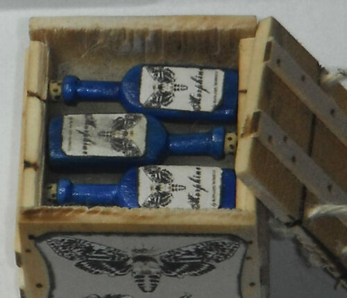 Dollhouse miniature handcrafted 1//12th scale Morphine crate filled bottles wood