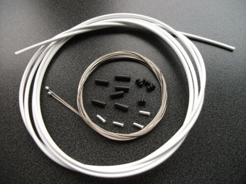 2M JAGWIRE L3 WHITE Slick GEAR OUTER + STAINLESS INNER CABLES ferrules & crimps