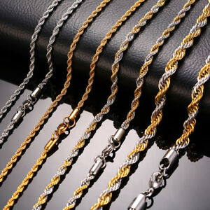 Man-Necklace-Chain-Twist-Rope-Curb-Link-Stainless-Steel-20-22-24inch-Gold-Silver