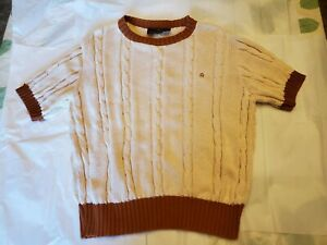 Etienne-Aigner-Vintage-Sweater-USA-L-oatmeal-rust-brown-short-sleeve-large