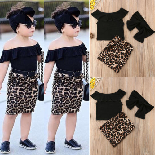 Toddler Kids Baby Girl Tops Leopard Print Sheath Skirt Dress Clothes Outfits Set