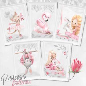 Kinderzimmer-Bilder-Set-Tiere-Prinzessin-Ballerina-Baby-Nursery-Print-Princess