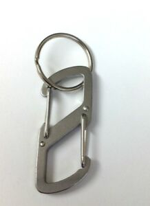 (2) Bison Designs Stainless Steel 7 Cm Z Link Carabiner Clips S Hook With Ring