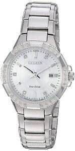 Citizen Eco-Drive Women's EW2460-56A Riva Diamond Accents Silver-Tone 30mm Watch
