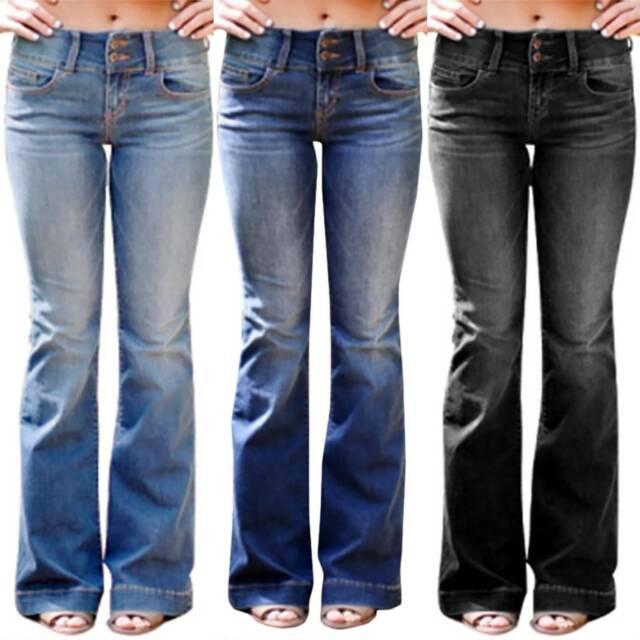 Ex M/&S Fairtrade Black Mid Rise Slim Boot Cut Jeans Size 8-22