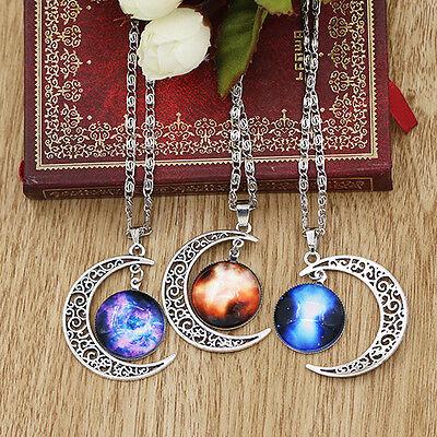 Fashion Women Galactic Glass Alloy Pendant Silver-Tone Crescent Moon Necklace