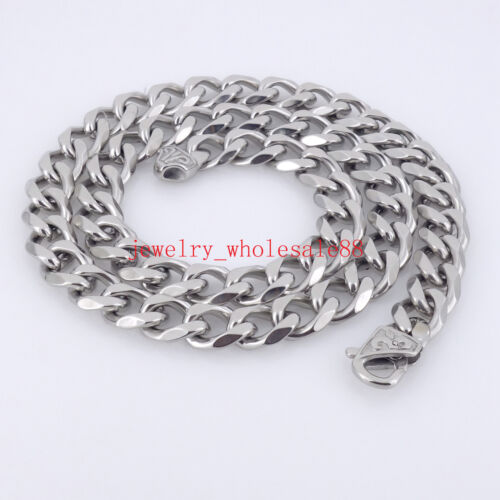 18/'/'-36/'/' Silver High Polished Men 316L Stainless steel Link Chain Necklace 13mm