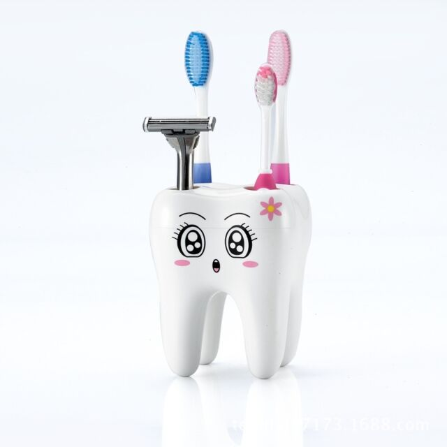 Novelty 4 Hole Tooth Style Toothbrush Holder Bracket Container For Bathroom W