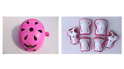 Lot of 2 sets Kid's Skateboard Helmet Knee Elbow Pads Wrist Guard Combo  IN PINK